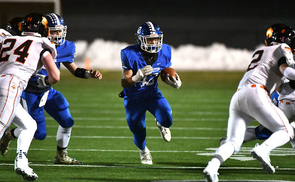 12/4/2019 Mike Orazzi | StaffrSouthingtons Dillon Kohl (42) during the Class LL football playoff with Ridgefield at Southington High School on Wednesday night. r