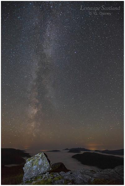 Milky Way, stars and valley fog, Beinn Dorain (1)