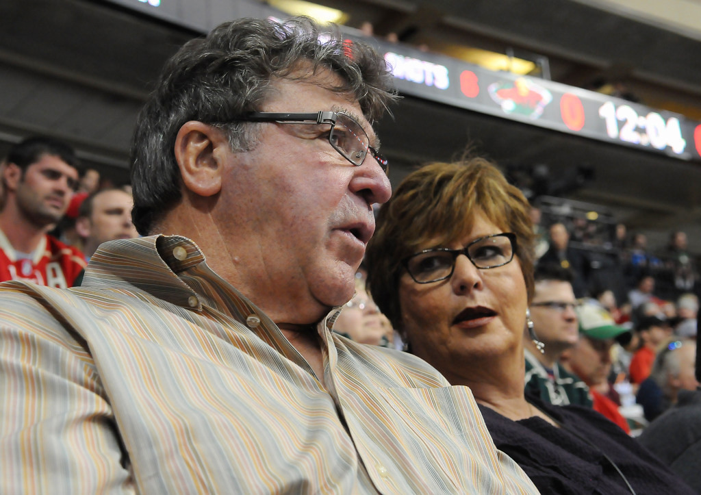 . 71-year-old J.P. Parise and his wife Donna watch their son, Zach Parise, skate agaisnt the Chicago Blackhawks during the first period. The former NHL star skated for the North Stars for nine years, and also played for the Bruins, Maple Leafs and Islanders over his 15-year career.  (Pioneer Press: John Autey)