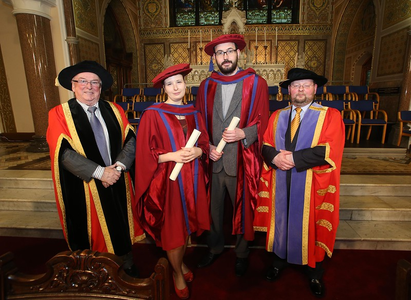 Pictured is Magdalena Necpalova of Slovakia and Piltown, Kilkenny and Enda Coates, Newbridge, Co Kildare who were conferred a Doctor of Philosophy, also pictured is Dr Donie Ormonde, WIT Chairman and Dr. Derek O'Byrne, Registrar of WIT. Picture: Patrick Browne.