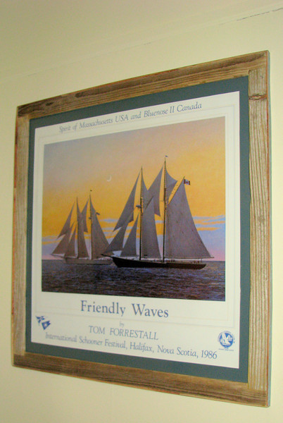 """An older Tom Forrestall poster entitled """"Friendly Waves"""" framed to protect and preserve what was a very affordable poster!"""