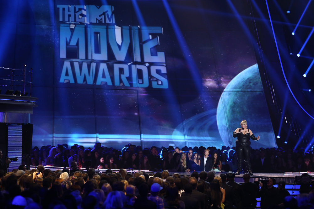 . Host Rebel Wilson performs on stage at the MTV Movie Awards in Sony Pictures Studio Lot in Culver City, Calif., on Sunday April 14, 2013. (Photo by Matt Sayles/Invision /AP)