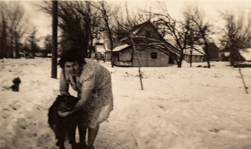 Josephine Piersol in the snow with a dog in Council ID?