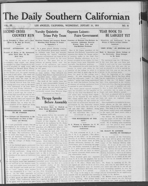 The Daily Southern Californian, Vol. 3, No. 61, January 14, 1914