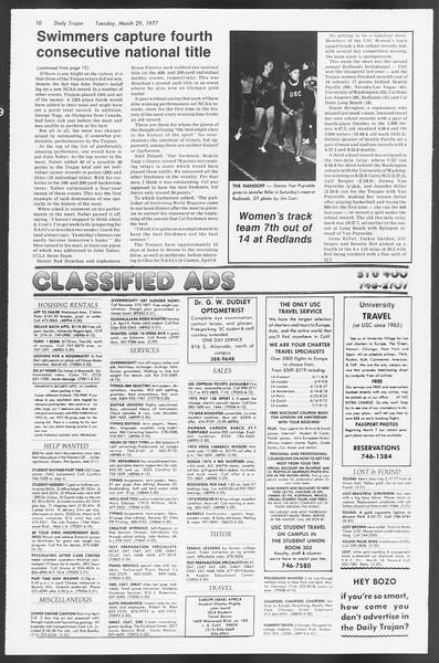 Daily Trojan, Vol. 71, No. 34, March 29, 1977