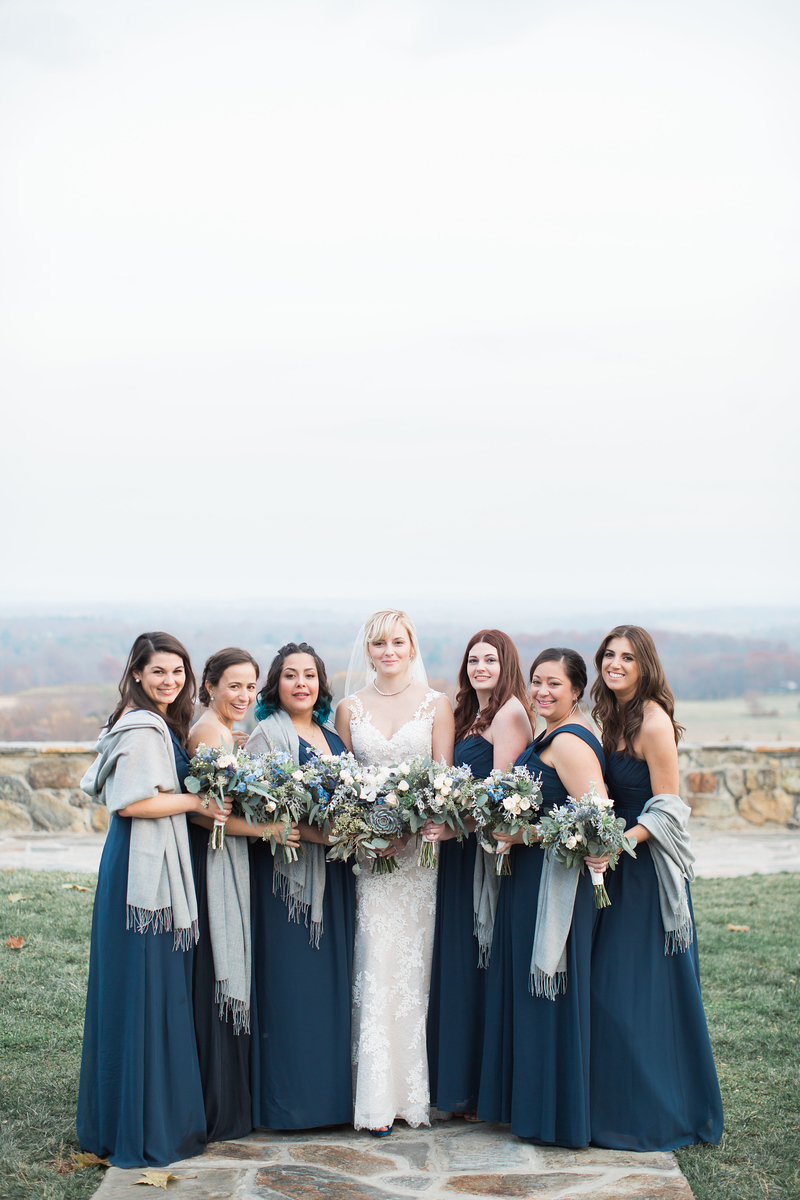 Bluemont Vineyards wedding photos of Meg and her bridesmaids with navy and silver accents. Images by the best Washington DC wedding photographer Jalapeno Photography.