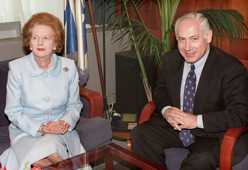 """. A picture dated August 26, 1998 shows Israeli Prime Minister Benjamin Netanyahu (R) receiving former British prime minister Margaret Thatcher in Jerusalem. Former British prime minister Margaret Thatcher, the \""""Iron Lady\"""" who shaped a generation of British politics, died following a stroke on April 8, 2013 at the age of 87, her spokesman said.  DAOUD MIZRAHI/AFP/Getty Images"""