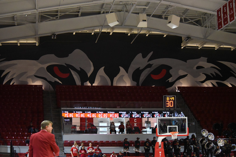 The eyes of the wolf are upon you - no matter where you are in Valvano Arena in Reynolds Colesium.