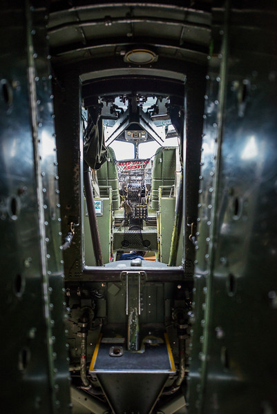 Forward view of the cockpit from inside of the bomb bay.