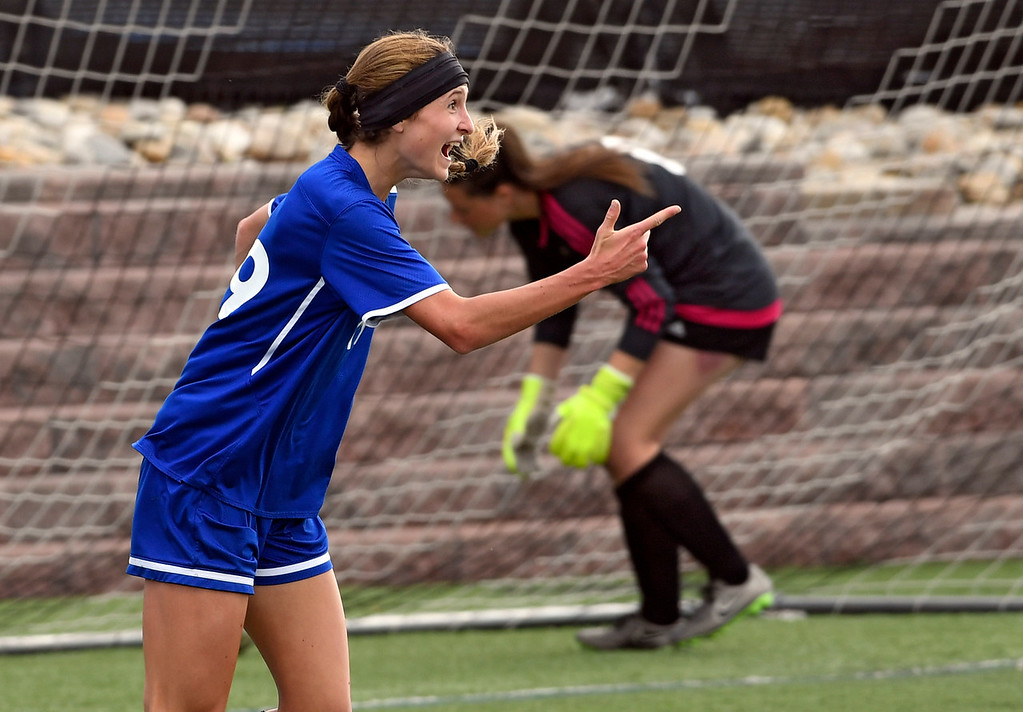 . HIGHLANDS RANCH, CO - MAY 18: Broomfield Hailey Stodden (19) celebrates her score against ThunderRidge during the first half in girls quarterfinals May 18, 2016 at Shea Stadium. (Photo By John Leyba/The Denver Post)