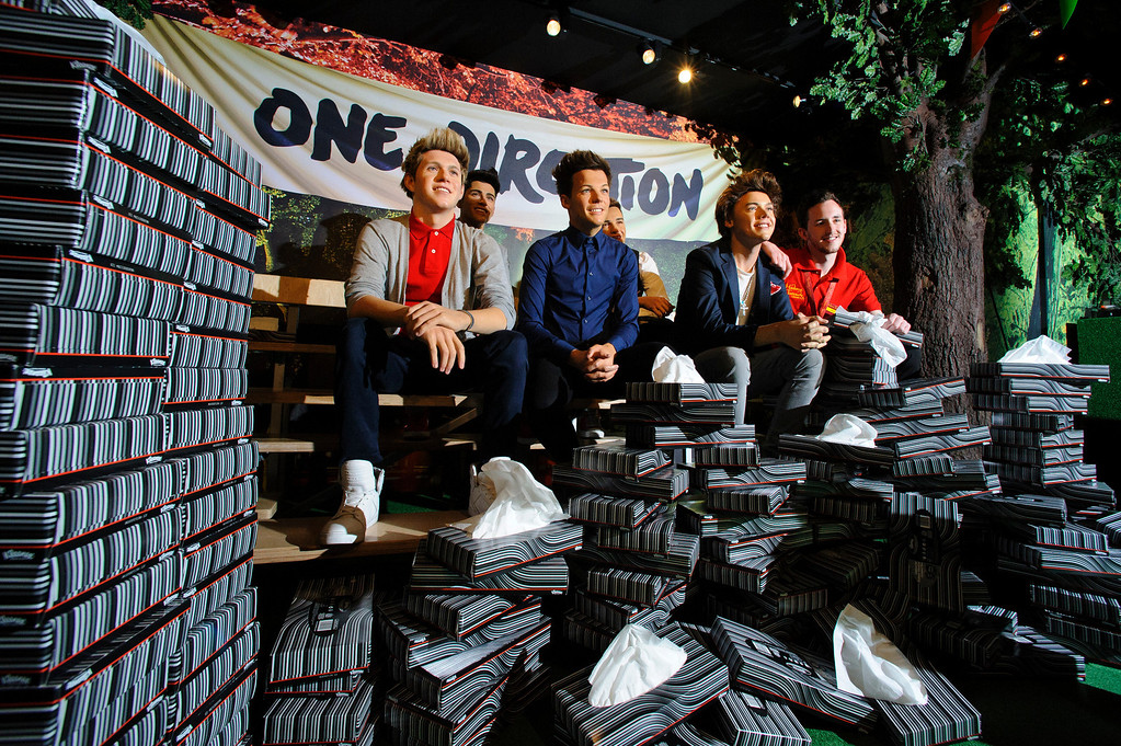 . LONDON, ENGLAND - JUNE 05:  Madame Tussauds take delivery of a bulk order of tissues after One Direction fans began to break down on site of their heroes waxworks at Madame Tussauds on June 5, 2013 in London, England.  (Photo by Ben A. Pruchnie/Getty Images)
