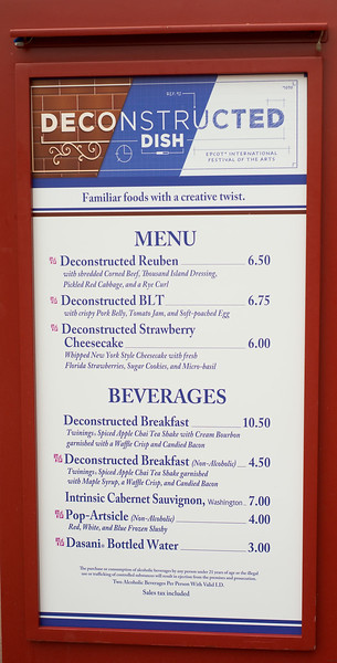 Epcot International Festival of the Arts - Deconstructed Dish Menu - Magic Kingdom Walt Disney World