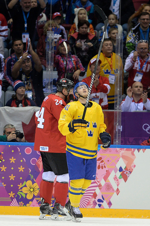 . Gustav Nyquist (41) of Sweden looks up at the replay board after narrowly missing a goal early against Canada during the first period of the men\'s ice hockey gold medal game. Sochi 2014 Winter Olympics on Sunday, February 23, 2014 at Bolshoy Ice Arena. (Photo by AAron Ontiveroz/ The Denver Post)