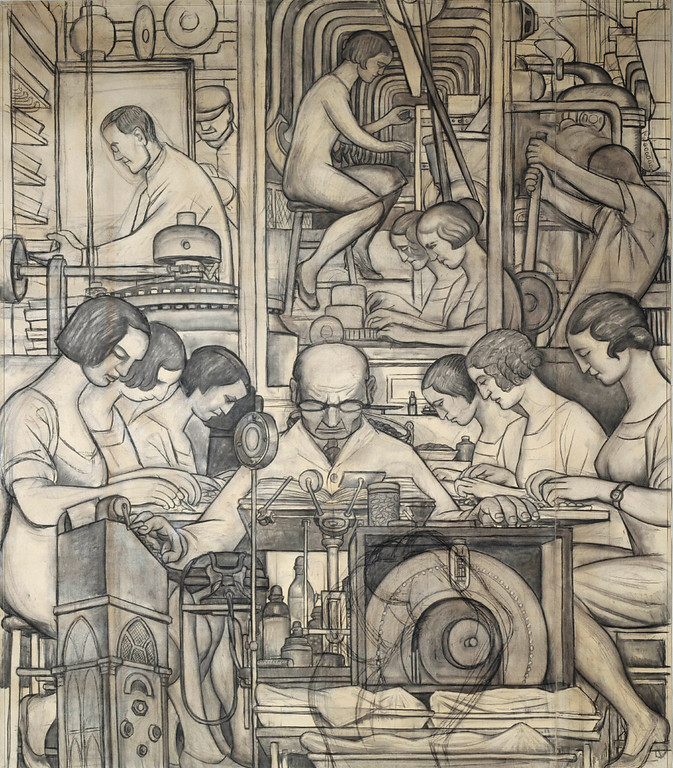 . Preparatory Drawing for Pharmaceutics (Detroit Industry south wall), Diego Rivera, 1932, charcoal. Detroit Institute of Arts