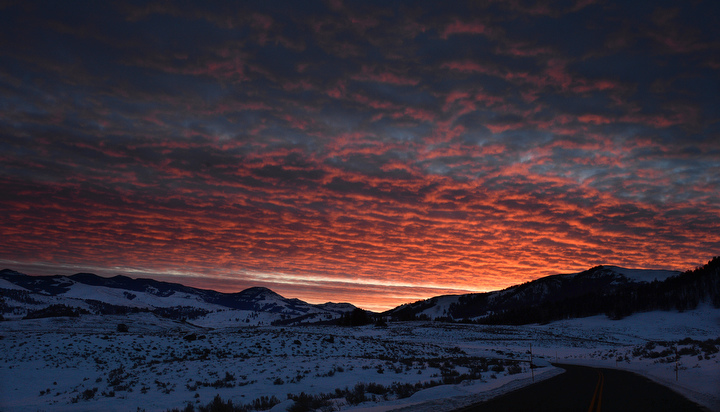 . The sun rises west of the Lamar Valley of Yellowstone. PHOTO:Will Lester
