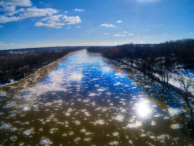 Icebergs float down the Wabash River near Lafayette, Indiana.