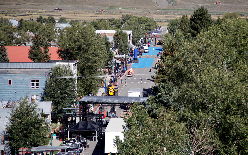 ". This Wednesday, Sept. 3, 2014 photo shows Elk Avenue as it is slowly transformed into a beer commercial set for ""Bud Light Blue\"" in Crested Butte, Colo. Anheuser-Busch agreed to pay $500,000 to convert the town into a set for a Bud Light commercial, a sequel to the companyís ``Up for Whateveríí Super Bowl ad that included Arnold Schwarzenegger. (AP Photo/P. Solomon Banda)"