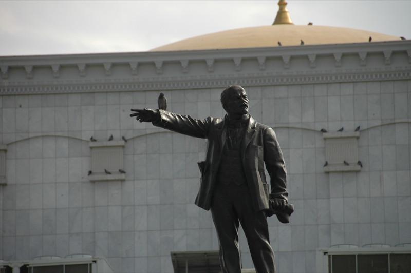 Bird on Lenin Statue - Ashgabat, Turkmenistan