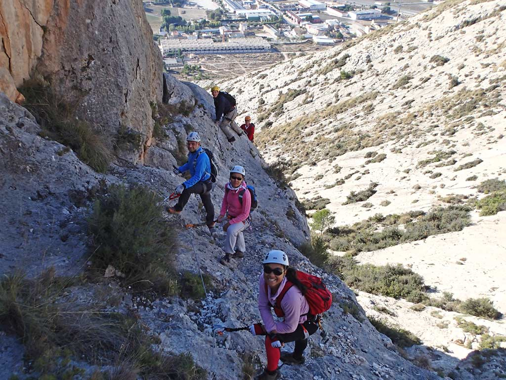 On the first pitch at Castiello de Salvatore Via Ferrata