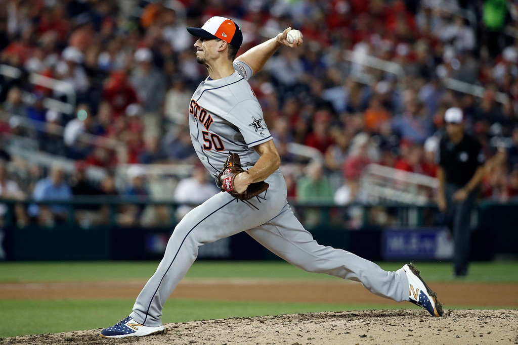 . Houston Astros pitcher Charlie Morton (50) throws in the seventh inning during the Major League Baseball All-star Game, Tuesday, July 17, 2018 in Washington. (AP Photo/Alex Brandon)