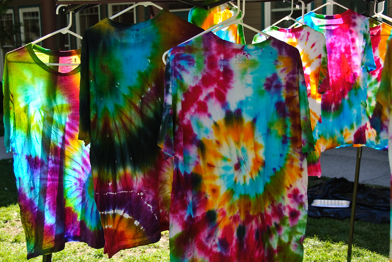 Tie dye shrts hanging up to dry.  (They look great in the sun; the next day after washing they are very faded.)