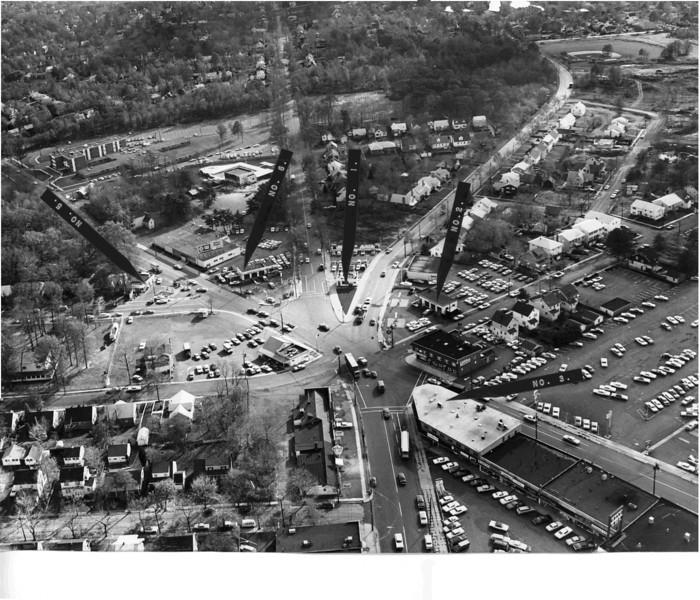 5 points looking South in the 1960's. Can you spot the whale? This photo was found in an old Board of Adjustment file used to plan a building project. This is a high resolution photo that can be downloaded and examined in detail.