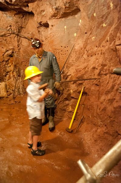 Evan got to try mining.