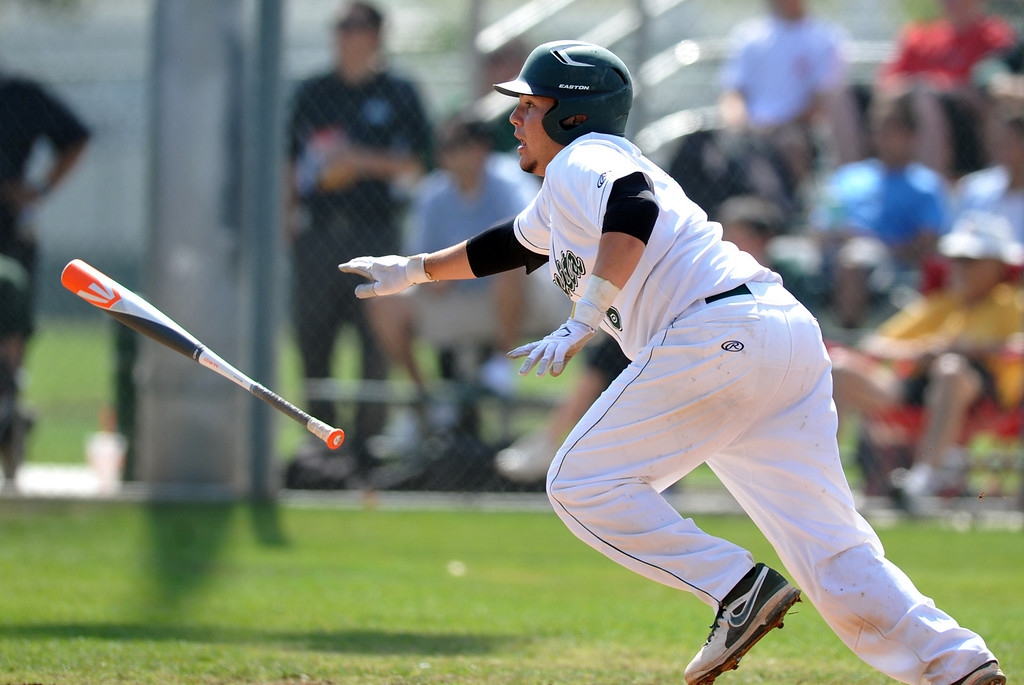 . Bonita\'s Jacob Blunt (#6) gets a hit as they play Cathedral in their CIF playoff game at Bonita High School in La Verne on Thursday May 16, 2013. Cathedral beat Bonita 3-1. (SGVN/Staff Photo by Keith Durflinger)