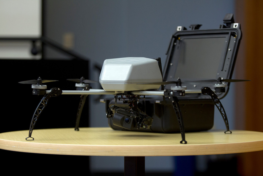 . An aerial surveillance drone like the ones the Alameda County Sheriff\'s hope to acquire for aerial enforcement, sits by its storage case during a hearing Thursday, Feb. 14, 2013 at the Alameda County Administration Building in Oakland, Calif. (D. Ross Cameron/Staff)
