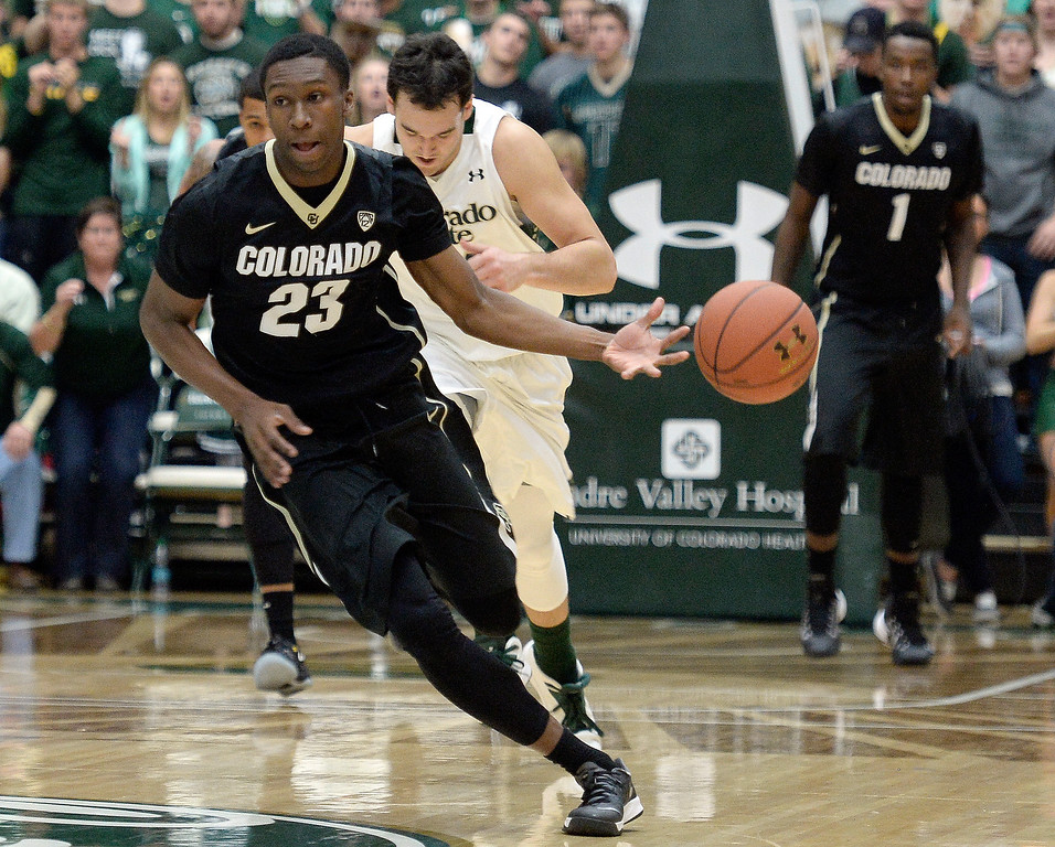 . Colorado\'s Jaron Hopkins dribbles the ball after a fast break during an NCAA game against CSU on Tuesday, Dec. 3, 2013, at the Moby Arena in Fort Collins. CU won the game 67-62. Jeremy Papasso/ Camera