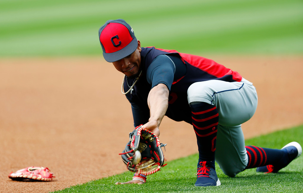 . Cleveland Indians shortstop Francisco Lindor fields a ball as the team practices before facing the Colorado Rockies on Tuesday, June 6, 2017, in Denver.(AP Photo/David Zalubowski)