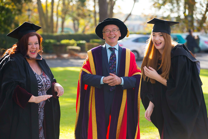 02/11/2016. Waterford Institute of Technology (WIT) Conferring Ceremonies November 2016. Pictured with Prof. Willie Donnelly President of WIT are Sue Goona from Dungarvan and Anya Ryan from Portlaw, Co. Waterford who graduated with a B.A. (Hons) in Social Science. Picture: Patrick Browne