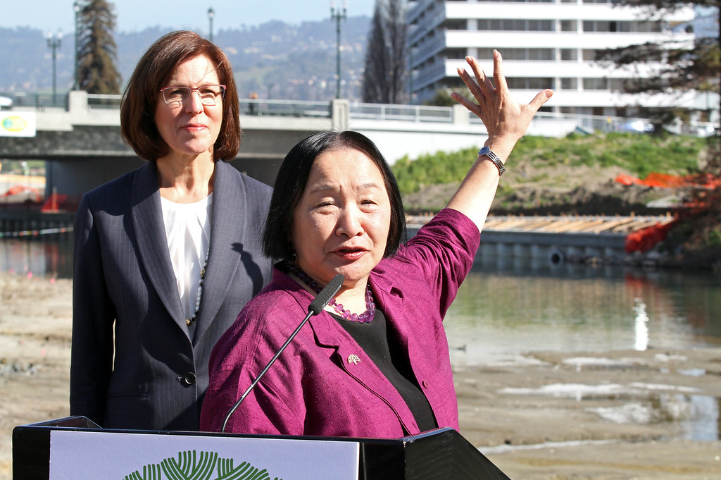 . Oakland Mayor Jean Quan speaks during the celebration of the re-opening of a 750-foot section of the  Lake Merritt Channel in Oakland, Calif., on Friday, Feb. 22, 2013. The new 100-foot-wide free flowing tidal channel, for the first time since 1869, allows boats to travel from the Lake Merritt Channel to Lake Merritt . This is the first of a series of projects that will eventually connect Lake Merritt to the Oakland Estuary. (Laura A. Oda/Staff)