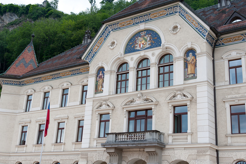 The government building and Vaduz Castle in Vaduz, Liechtenstein
