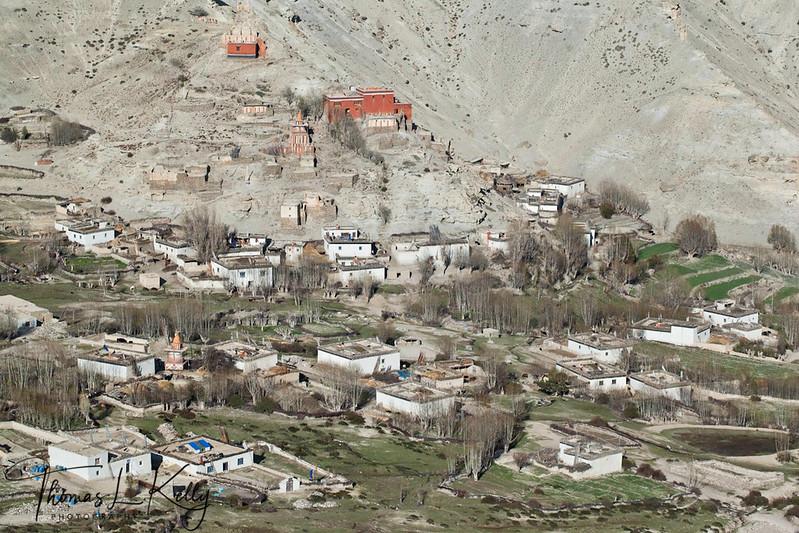 Houses in Ghiling (Geling) 3570m as seen from Tamagoan. Mustang, Nepal.