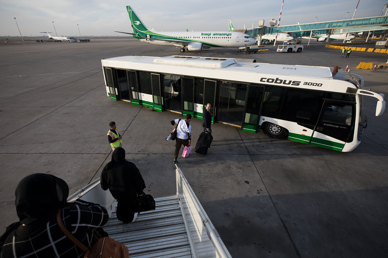Disembarking at Baghdad International Airport, Iraq's largest airport and main hub for the state-owned Iraqi Airways.