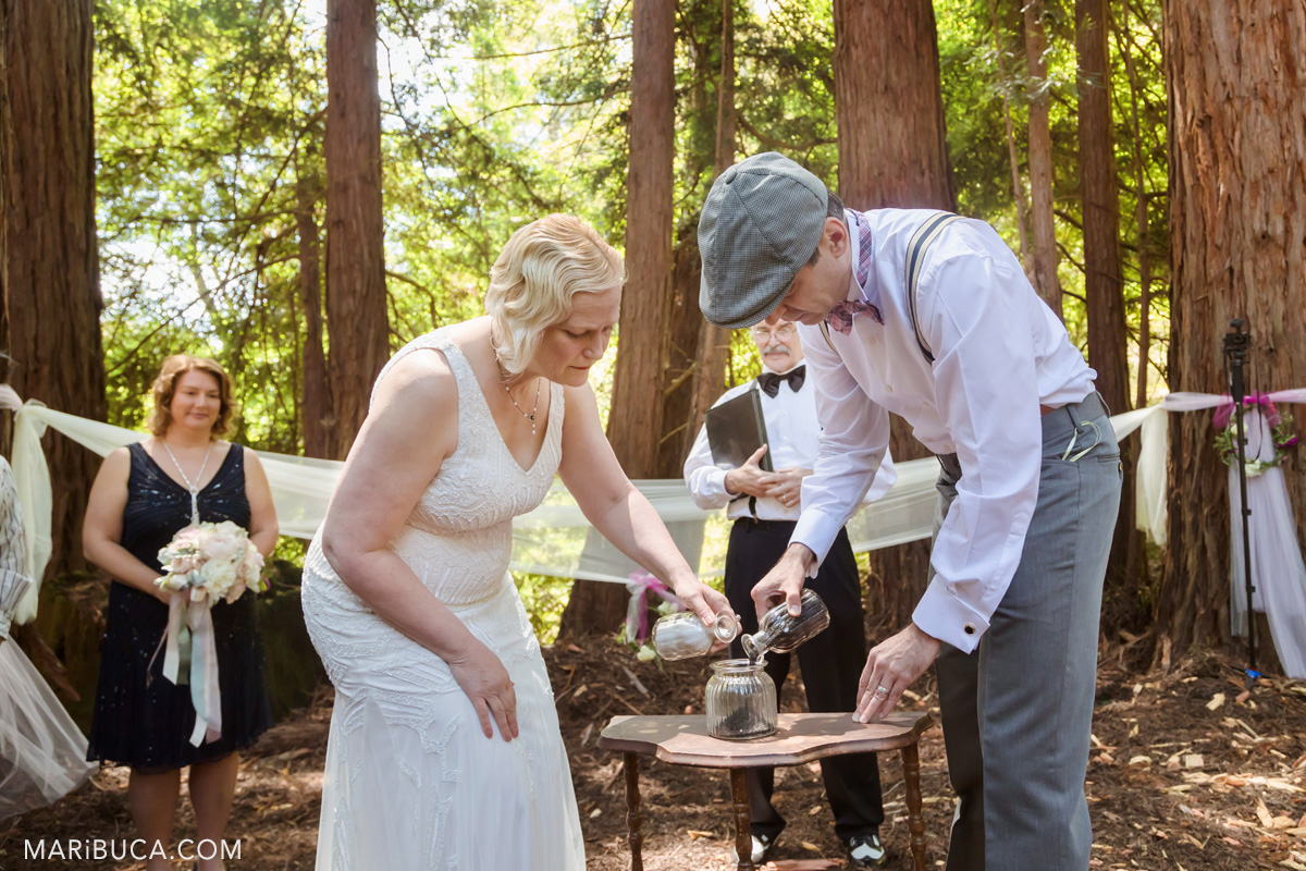 Great moment during wedding ceremony in Los Gatos