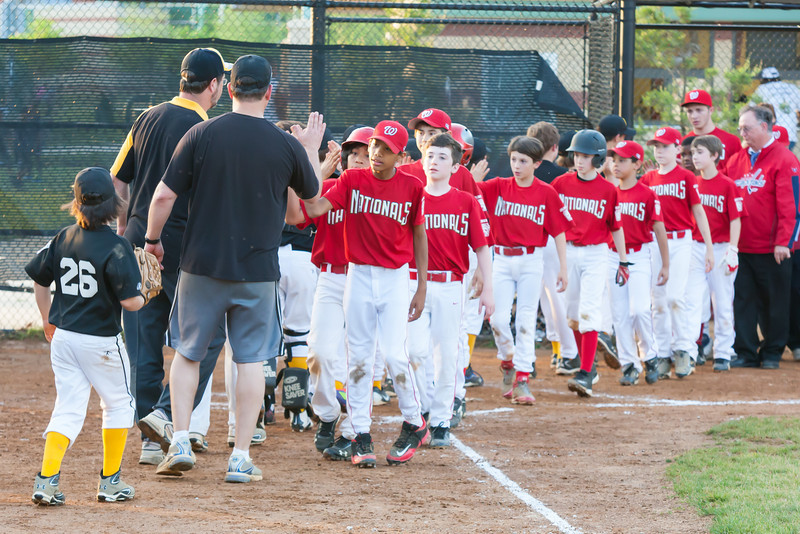 The Nationals played an excellent defensive game, but came up just a little short against the Pirates who scored the go-ahead run in the top of the 6th inning, winning 2-1. They are now 4-3 for the season. 2012 Arlington Little League Baseball, Majors Division. Nationals vs Pirates (01 May 2012) (Image taken by Patrick R. Kane on 01 May 2012 with Canon EOS-1D Mark III at ISO 1600, f5.6, 1/250 sec and 135mm)