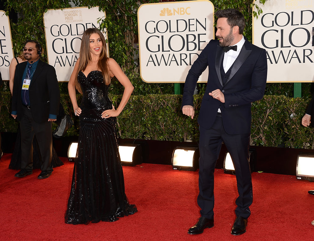 Description of . Actress Sofia Vergara (L) and actor/Director Ben Affleck arrive at the 70th Annual Golden Globe Awards held at The Beverly Hilton Hotel on January 13, 2013 in Beverly Hills, California.  (Photo by Jason Merritt/Getty Images)