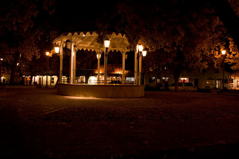 The plaza at night.