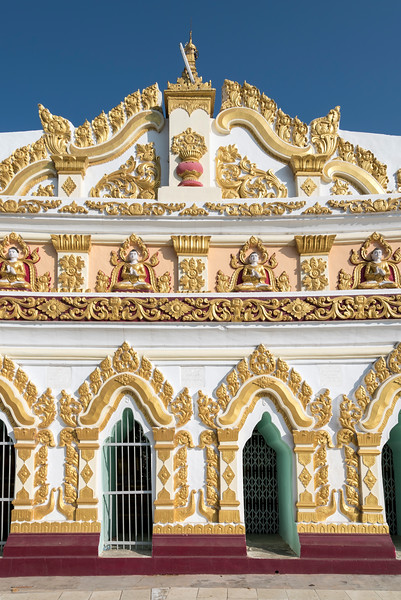 Exterior of the curved chamber of Umin Thounzeh (U Min Thonze) Pagoda in Sagaing near Mandalay, Myanmar (Burma)