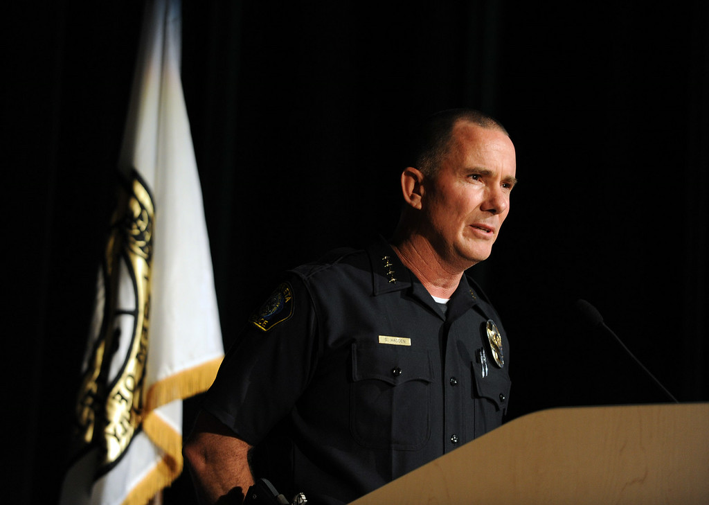 . Murrieta Police Chief Sean Haddon speaks during a town hall meeting on Wednesday, July 2, 2014 at Murrieta Mesa High School in Murrieta, Ca. The meeting is being held in response to immigrants who were being processed through a Texas Border Patrol Station and delivered to the Murrieta Border Patrol Station on Tuesday, which created protests from both sides of the immigration issue. (Micah Escamilla/The Sun)