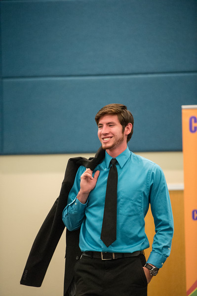 Jacob Gonzalez models clothing suggested to wear at a job interview during the Get the Job Career Fair at TAMU-CC. Thursday October 01, 2015.