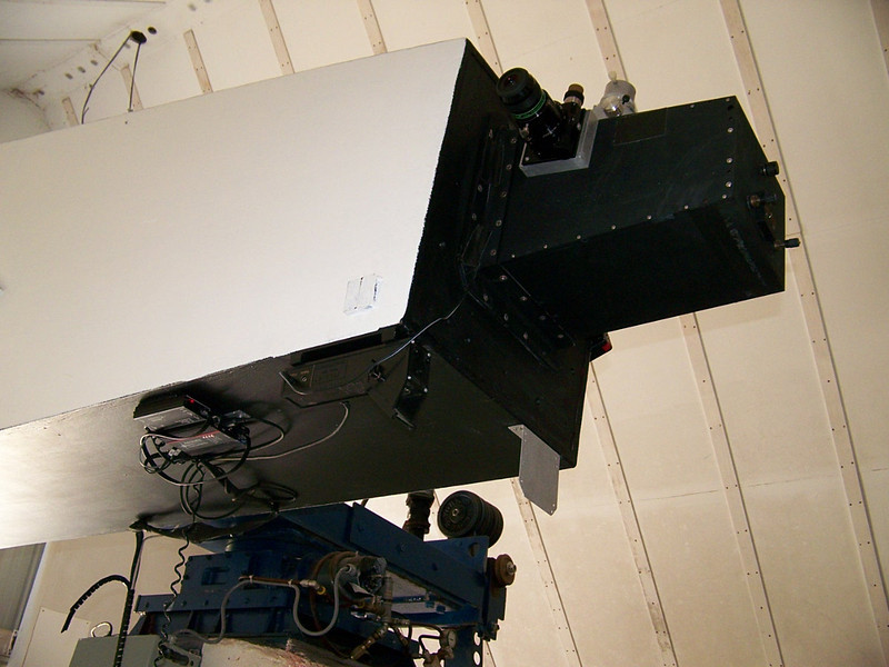 Observers end on the 13 inch Schupman telescope.