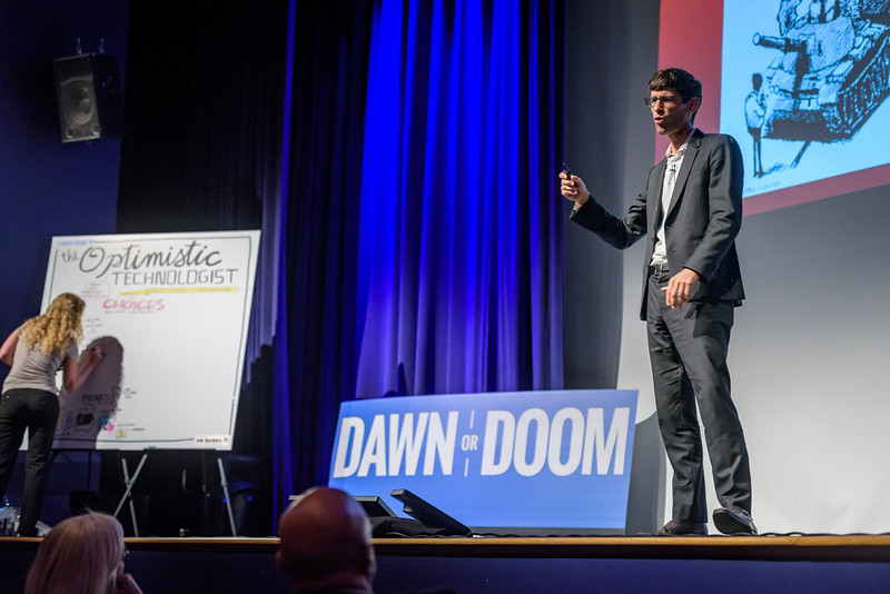 Nicholas Thompson, editor-in-chief of WIRED Magazine, speaks during the second day of the Dawn Or Doom conference in Fowler Hall. (Purdue University Photo/Alex Kumar)