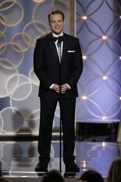 . In this handout photo provided by NBCUniversal, Presenter Matt Damon speaks onstage during the 71st Annual Golden Globe Award at The Beverly Hilton Hotel on January 12, 2014 in Beverly Hills, California.  (Photo by Handout/Getty Images)