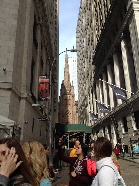 "Lower Manhattan tour with ""Brooklyn Jim"" Trinity Church in the background"