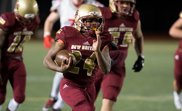 11/01/19 Wesley Bunnell | StaffrrNew Britain football was defeated 17-14 by Conard in OT in a game played on Friday night at Veterans Stadium. Omary Payne (24) scores to tie the game at 14.