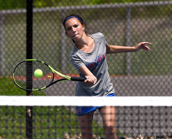 5/26/2018 Mike Orazzi   Staff St. Paul Catholic High Schools Olivia Kilbourne during the 2018 Class S Girls Tennis Tournament with Old Lyme held at Bristol Eastern High School in Bristol Saturday.
