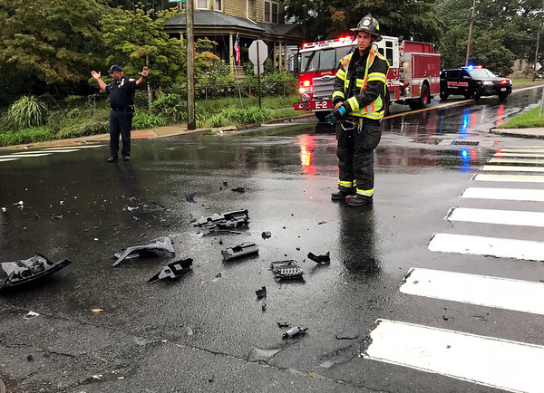 9/25/2018 Mike Orazzi | Staff The scene of a two car crash at the intersection of Summer and Center Streets in Bristol Tuesday morning.